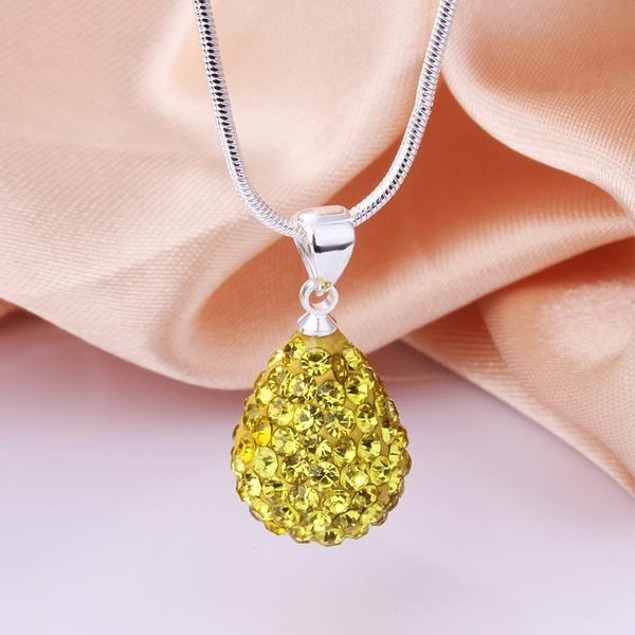 Solid Austrian Stone Pear Necklace