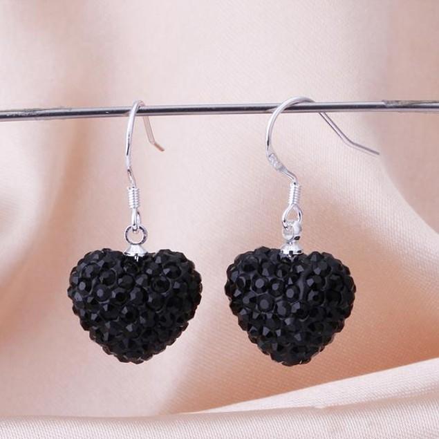 Heart Shaped Solid Austrian Stone Drop Earrings - Onyx