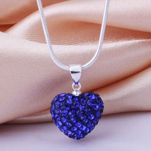 Solid Austrian Stone Crystal Heart Shaped Necklace -Blue
