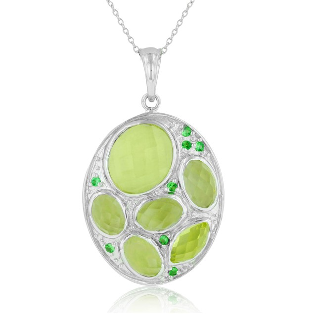 9 1/2 Carat Lemon Citrine and Created Emerald Oval Shaped Necklace, Sterling Silver