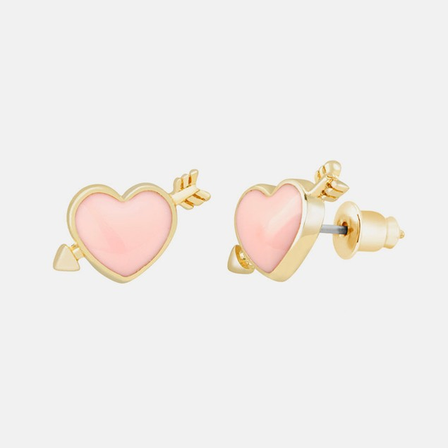 18kt Gold Plated Heart & Arrow Studs - Pink
