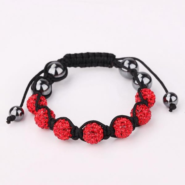 80's Glam Six Beads Austrian Crystal Bracelet - Bright Ruby