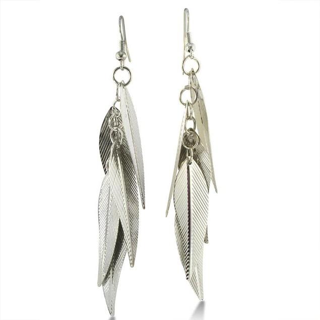 Silver Tone Leaf Dangle Earrings