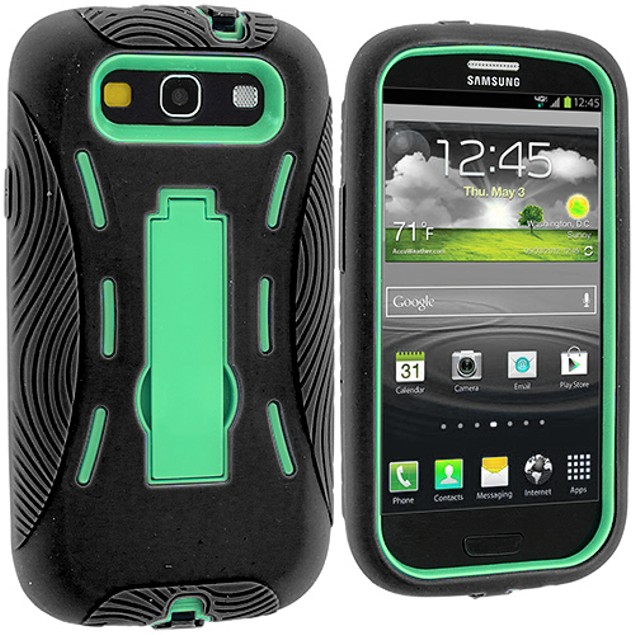 Samsung Galaxy S3 9300 Hybrid Heavy Duty Armor Case Cover with Stand