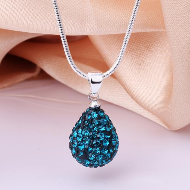 Solid Austrian Stone Pear Necklace - Vivid Blue