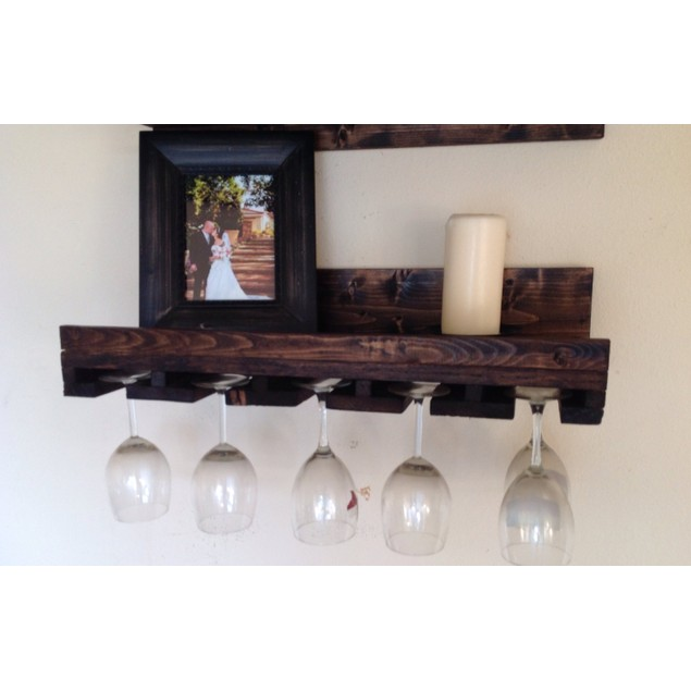 Rustic Luxe Tiered Glass Rack - 24x10