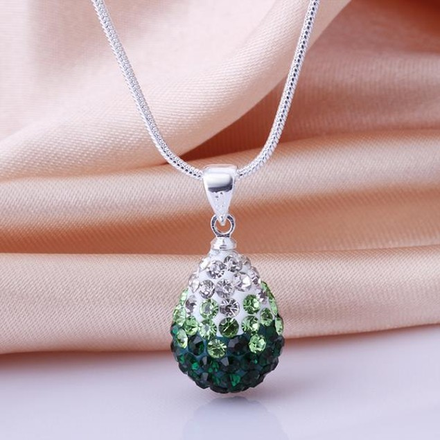 Classic Austrian Stone Necklace - Green