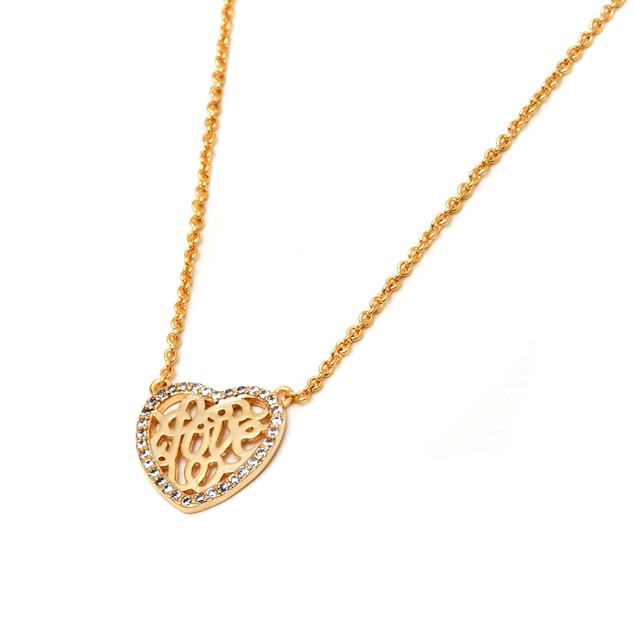 Gold & Crystal Heart Necklace