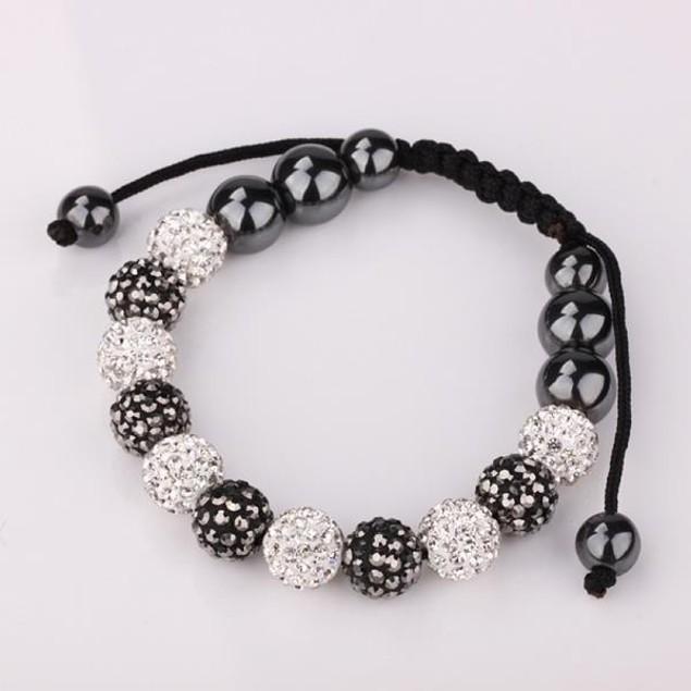Disco Ball Austrian Crystal Strap Bracelet & Crystal Beads -Dark Onyx