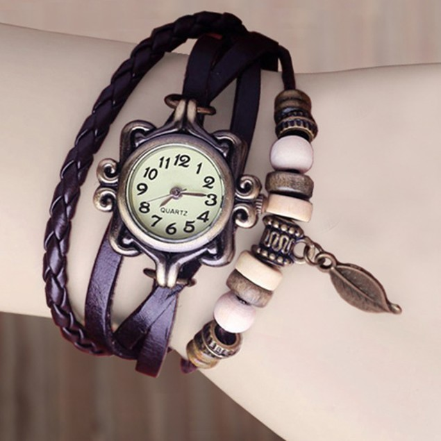 Bohemian Style Leather Tree Leaf Women's Watches