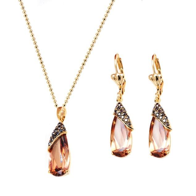 Gold & Crystal Teardrop Earrings & Pendant Set