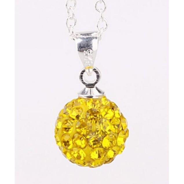 Solid Austrian Stone Pendant - Bright Light Yellow Citrine