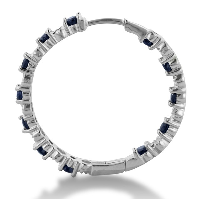 1.5ct Sapphire & Diamond Inside-Out Hoop Earrings