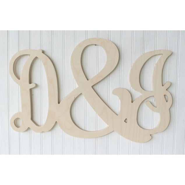 Unfinished Couples Initials Wood Sign Letter & Letter