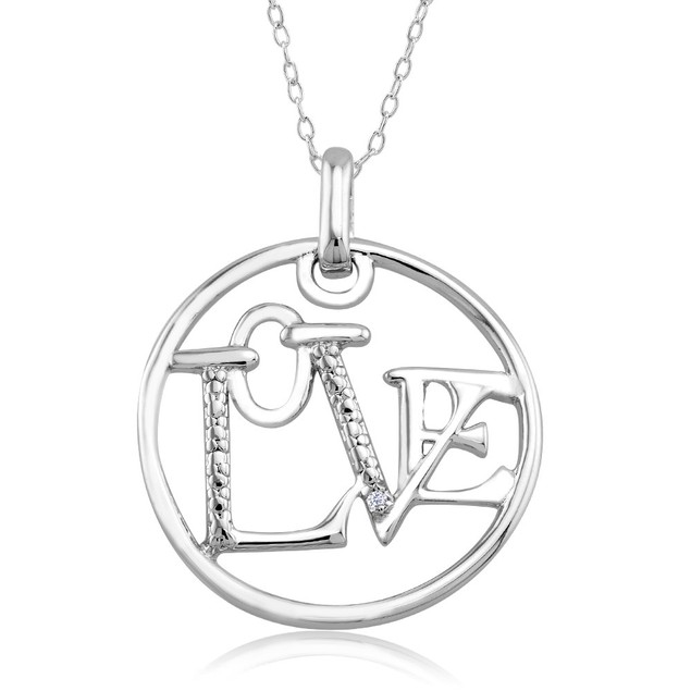 1/10 CTW Diamond Accent Necklace - Circle Love