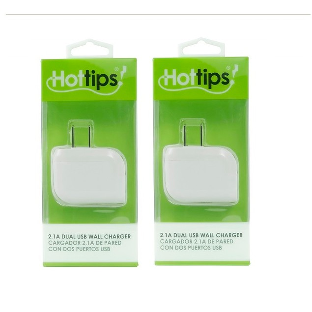2-Pack Hottips 2.1A Dual USB Single Wall Charger