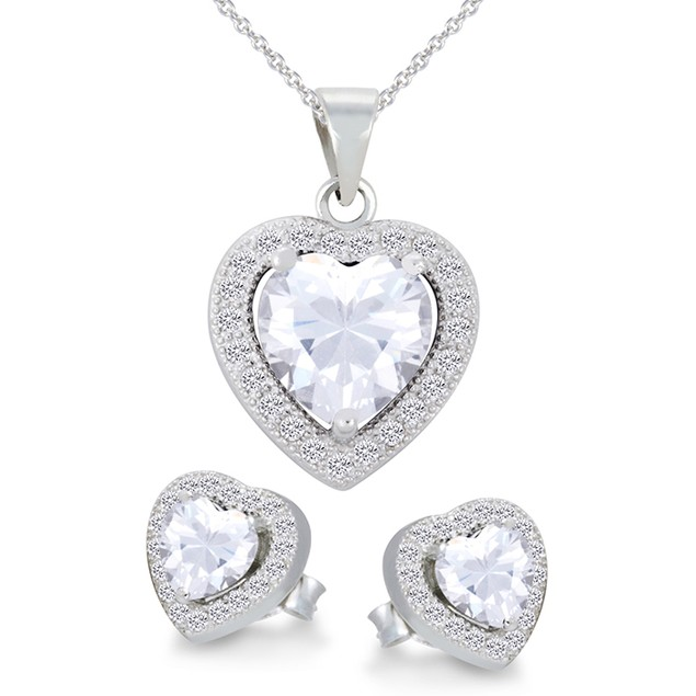 Sterling Silver Simulated Diamond Heart Shaped Necklace & Earrings Set