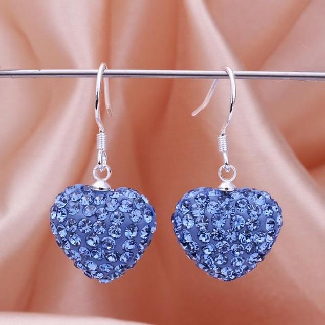 Heart Shaped Solid Austrian Stone Drop Earrings - Bright Sapphire