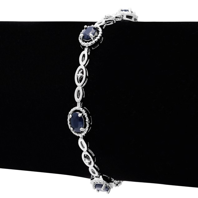 4.50cttw Oval Sapphire and Halo Diamond Bracelet