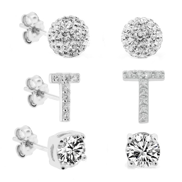 3-Piece Set: Initial Stud Earrings with Swarovski Elements - T