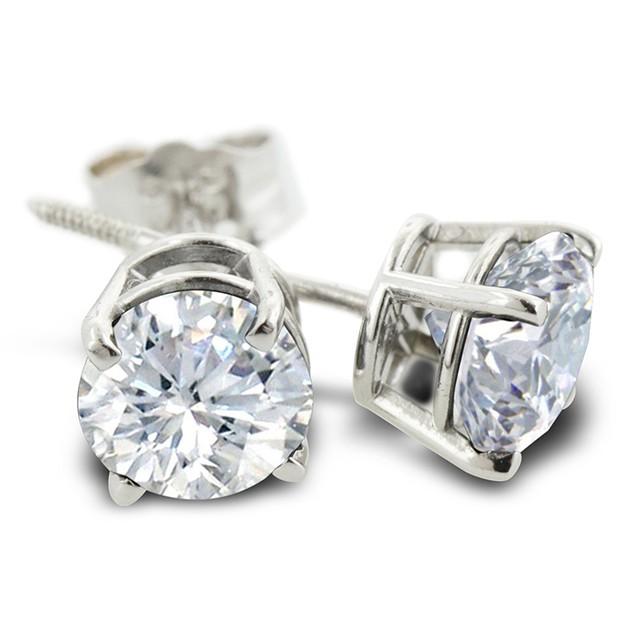 3/4ct Diamond Stud Earrings In 14 Karat White Gold