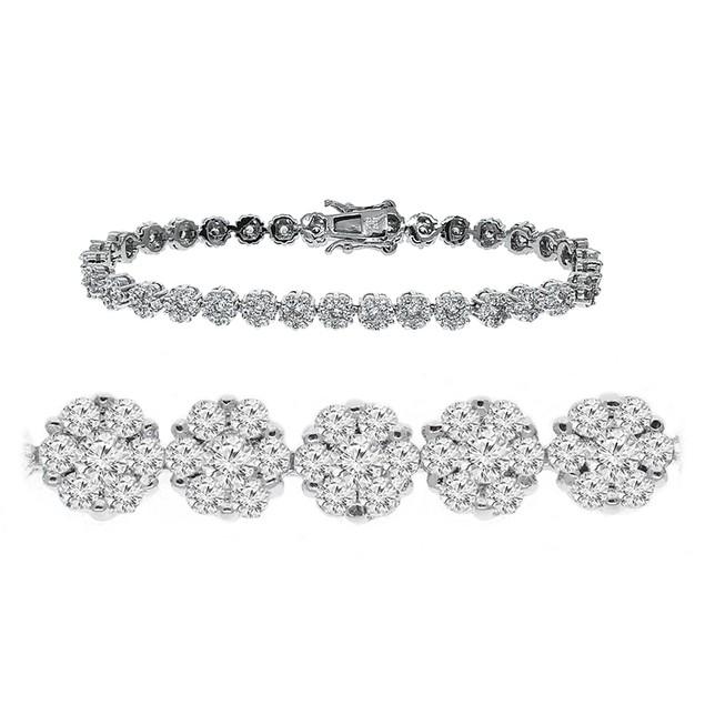 Sterling Silver Flower Design Tennis Bracelet