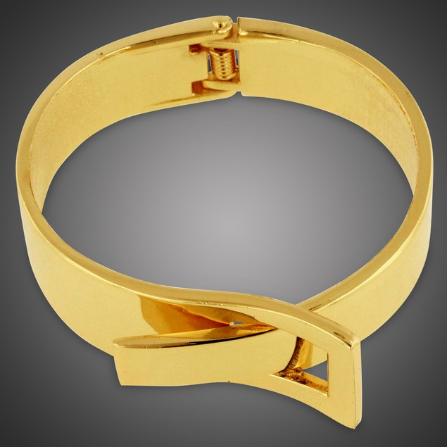 Large Gold Buckle Bangle Bracelet