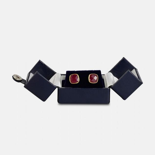 3ct Created Ruby Cushion Cut Earrings - Gold