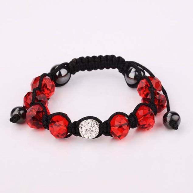 Disco Ball Austrian Crystal Strap Bracelet & Gemstone Beads -Runy