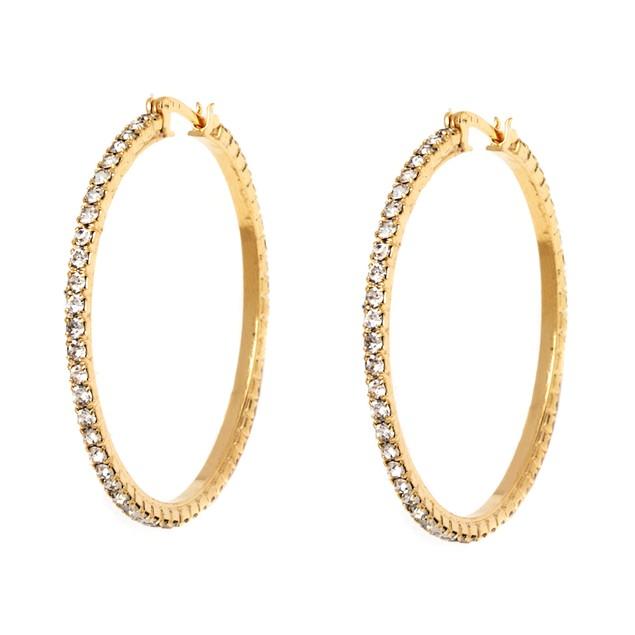 18K Gold Sparkle Encrusted Hoop Earrings