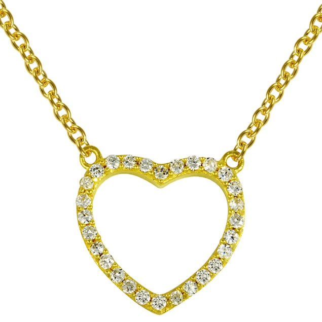 18K Gold Over Sterling Silver Simulated Diamond Heart Necklace