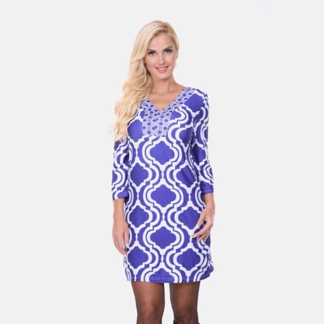 Sophia Indigo & White Print Dress