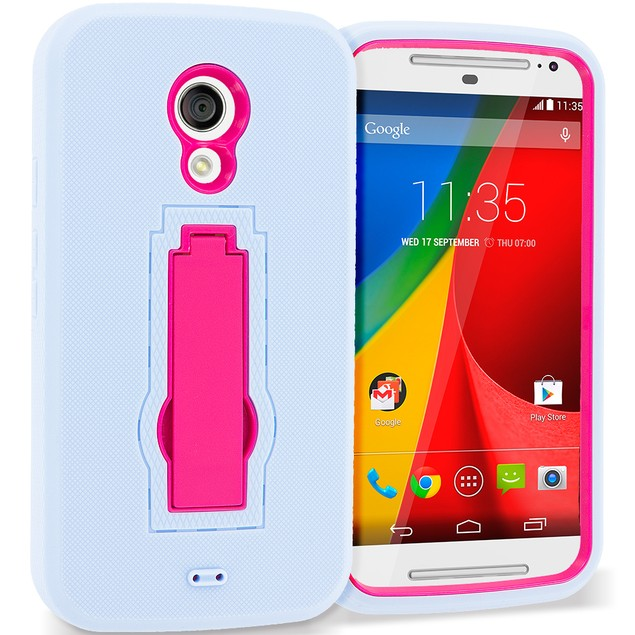 Motorola Moto G 2nd Gen Hybrid Heavy Duty Armor Case Cover with Stand