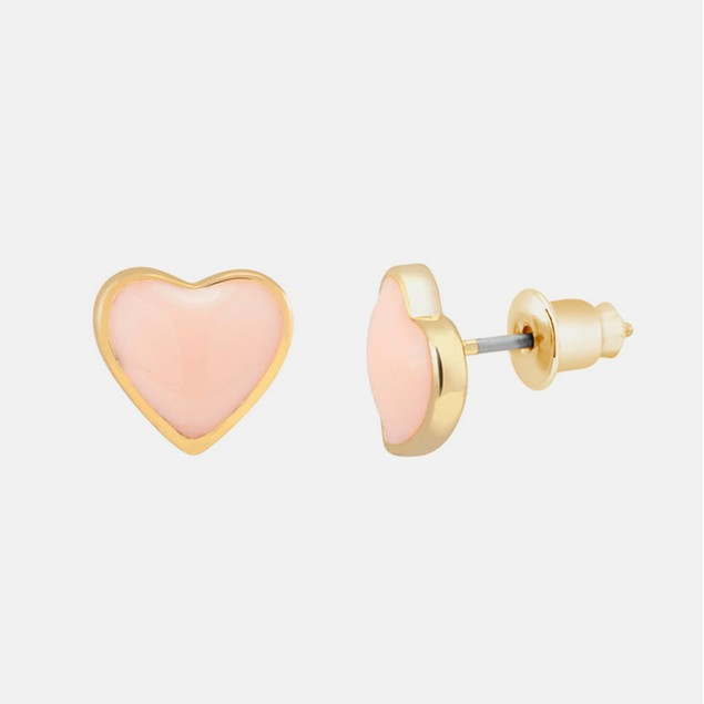 18kt Gold Plated Heart Stud Earrings - Peach