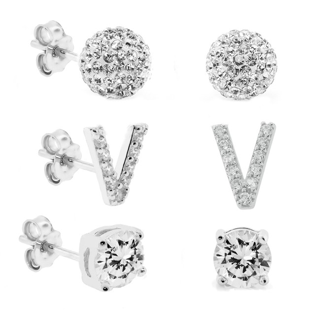 3-Piece Set: Initial Stud Earrings with Swarovski Elements - V
