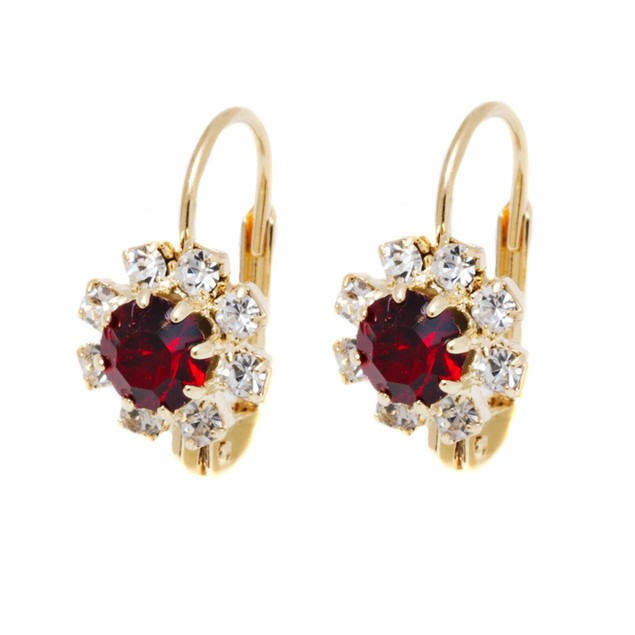 Garnet and White Crystal Flower Huggie Earrings
