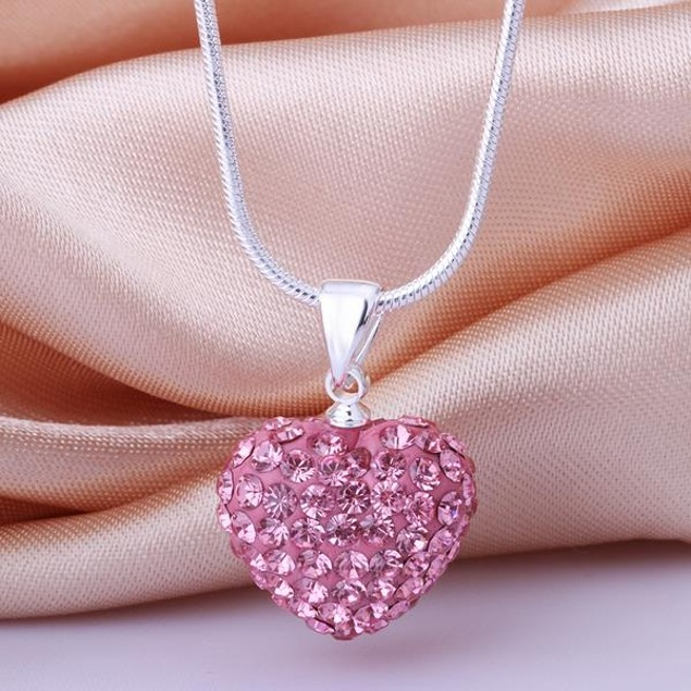 Solid Austrian Stone Crystal Heart Shaped Necklace - Coral