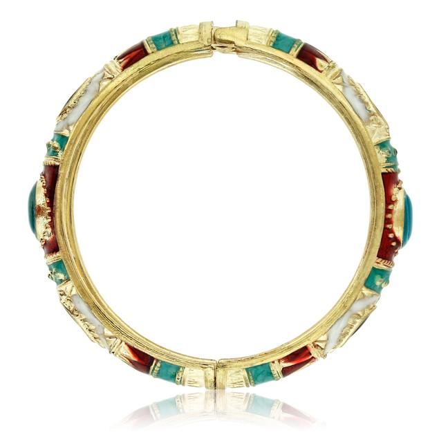 Chinese Inspired Gold Plated & Enamel Bracelet