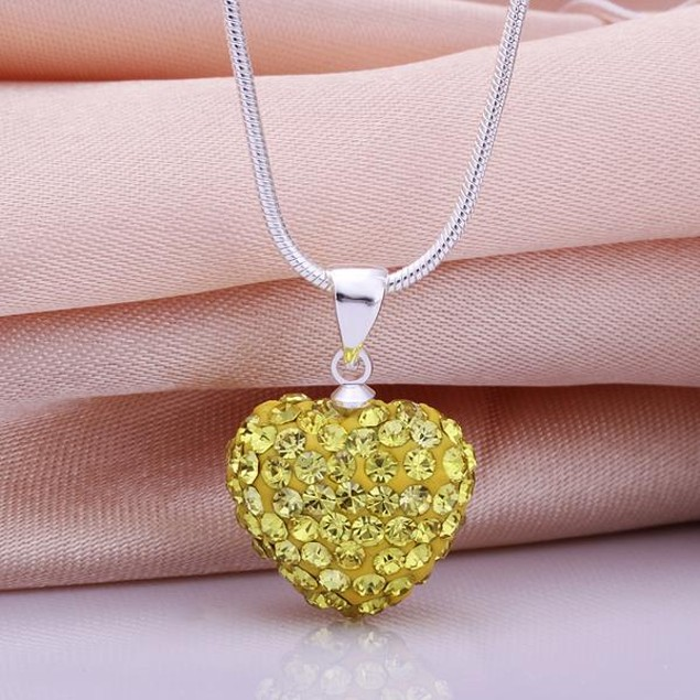 Solid Austrian Stone Heart Shaped Necklace - Yellow Citrine