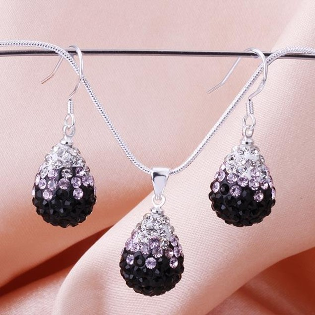 Austrian Stone Multi-Pave Earring and Necklace Set - Puple Passion