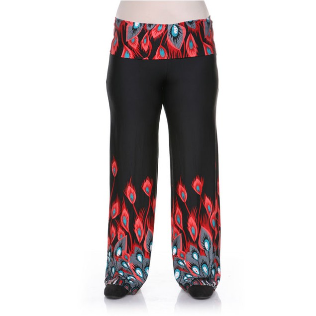 Plus Size Peacock Printed Palazzo Pants - Red