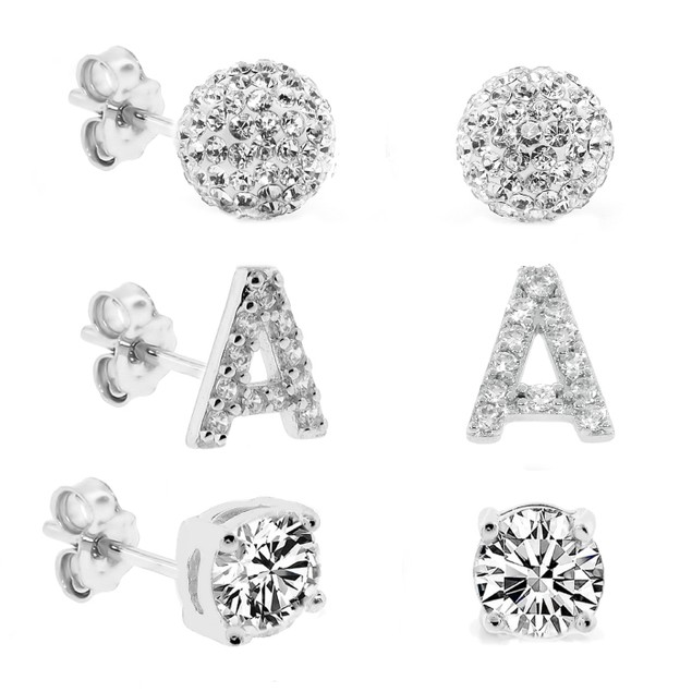 3-Piece Set: Initial Stud Earrings with Swarovski Elements - A