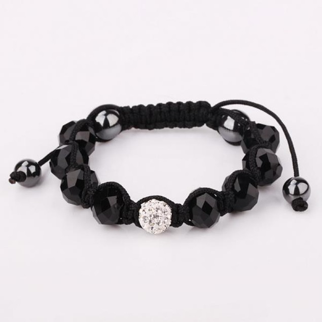 Disco Ball Austrian Crystal Strap Bracelet & Gemstone Beads -Onyx