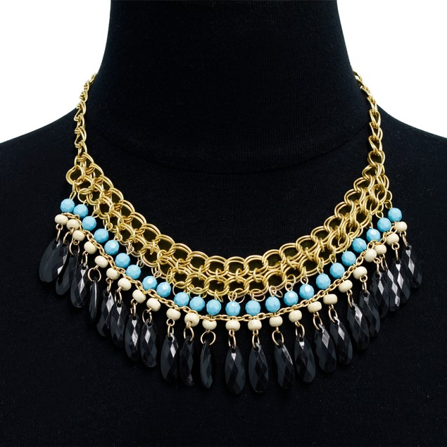 Gold Plated Crystal Bib Necklace - 3 Color Styles