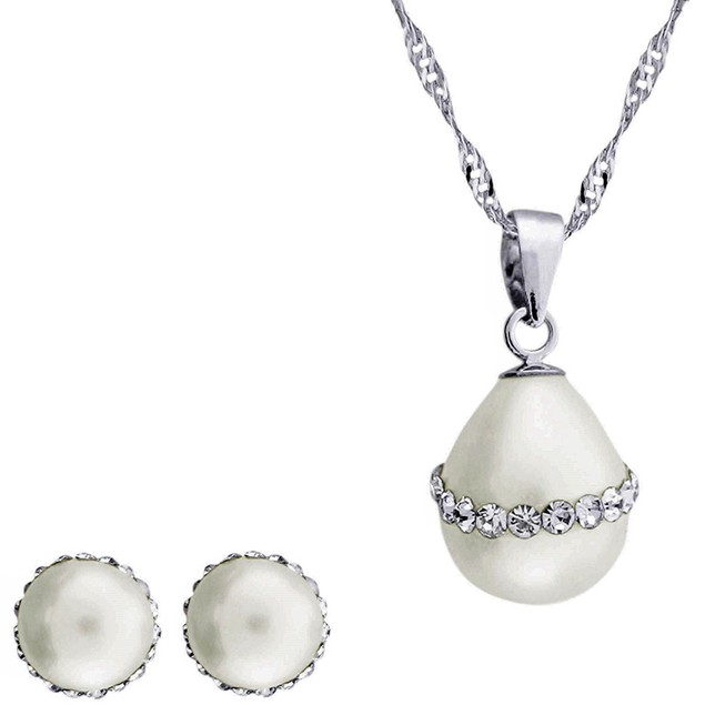 Genuine Freshwater Cultured White Pearl & Rhinestone Set