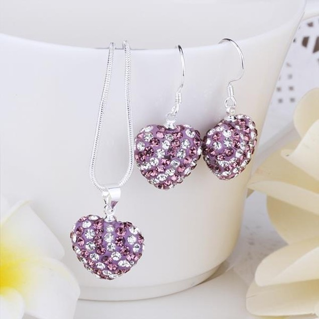 Multi-Pave Heart Drop Earring and Necklace Set - Purple Passion