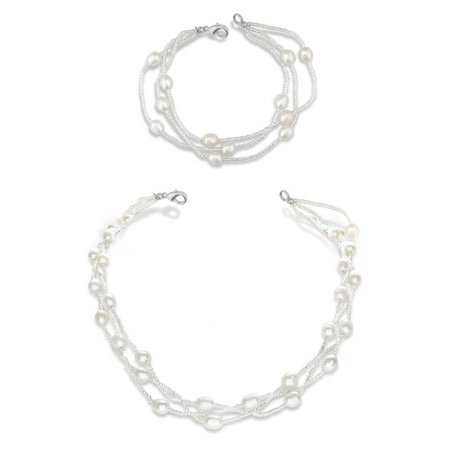 6-7mm Imitation Pearl and Crystal Necklace and Bracelet Set