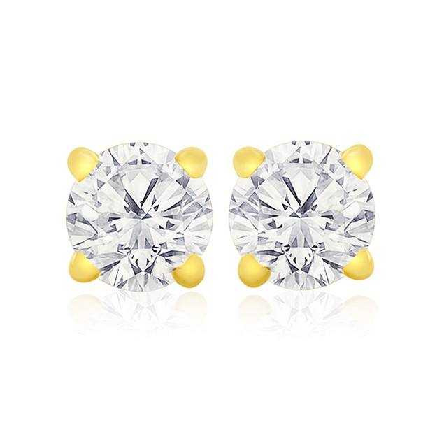 Certified 1/4ct Natural Genuine Diamond Stud Earrings In 10 Karat Yellow Gold