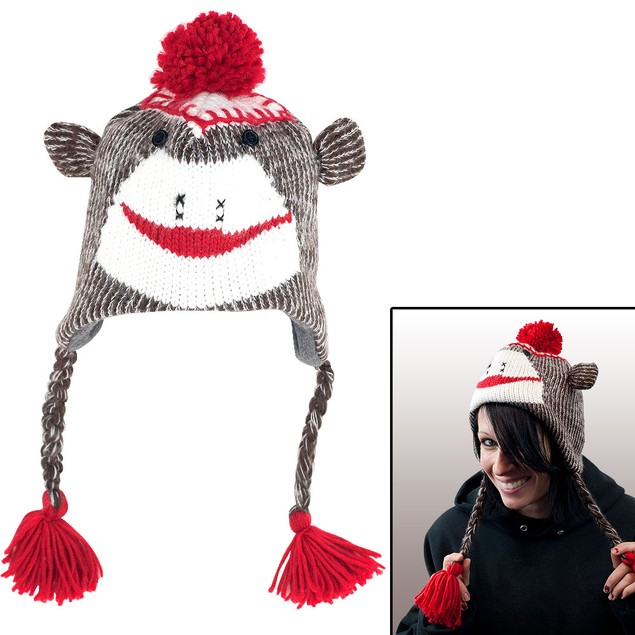 Adult Size Brown Sock Monkey Knit Hat with PolyFleece Lining