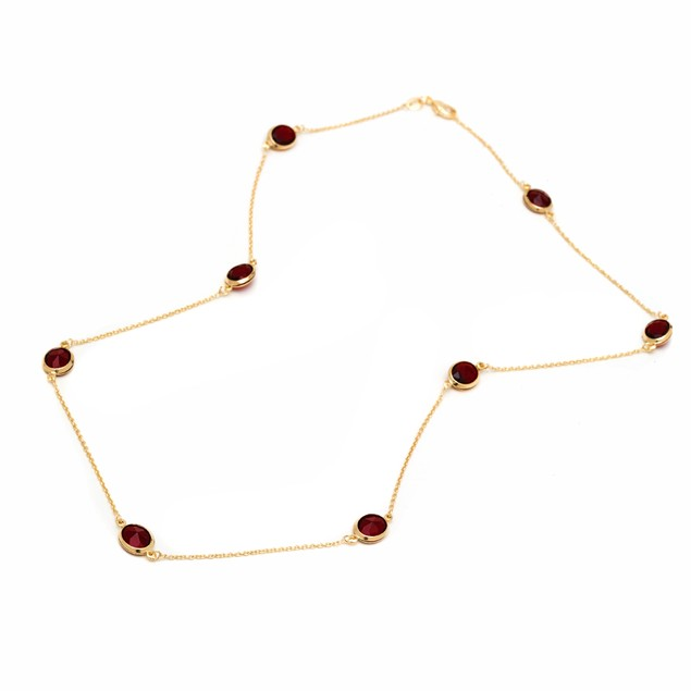 Ruby Round-Cut Crystal Necklace